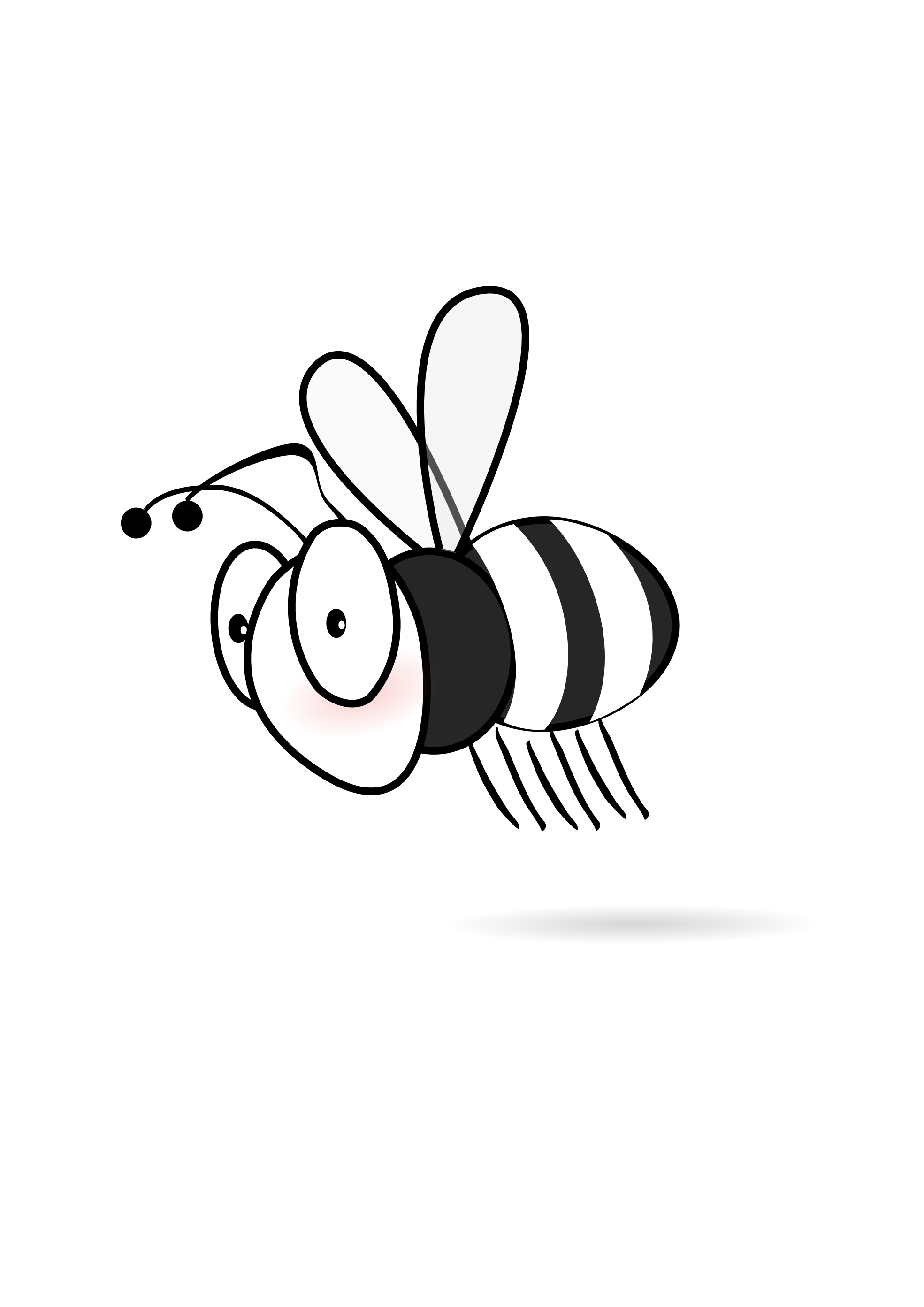 Line Art Bee : Cute bee clipart black and white panda free