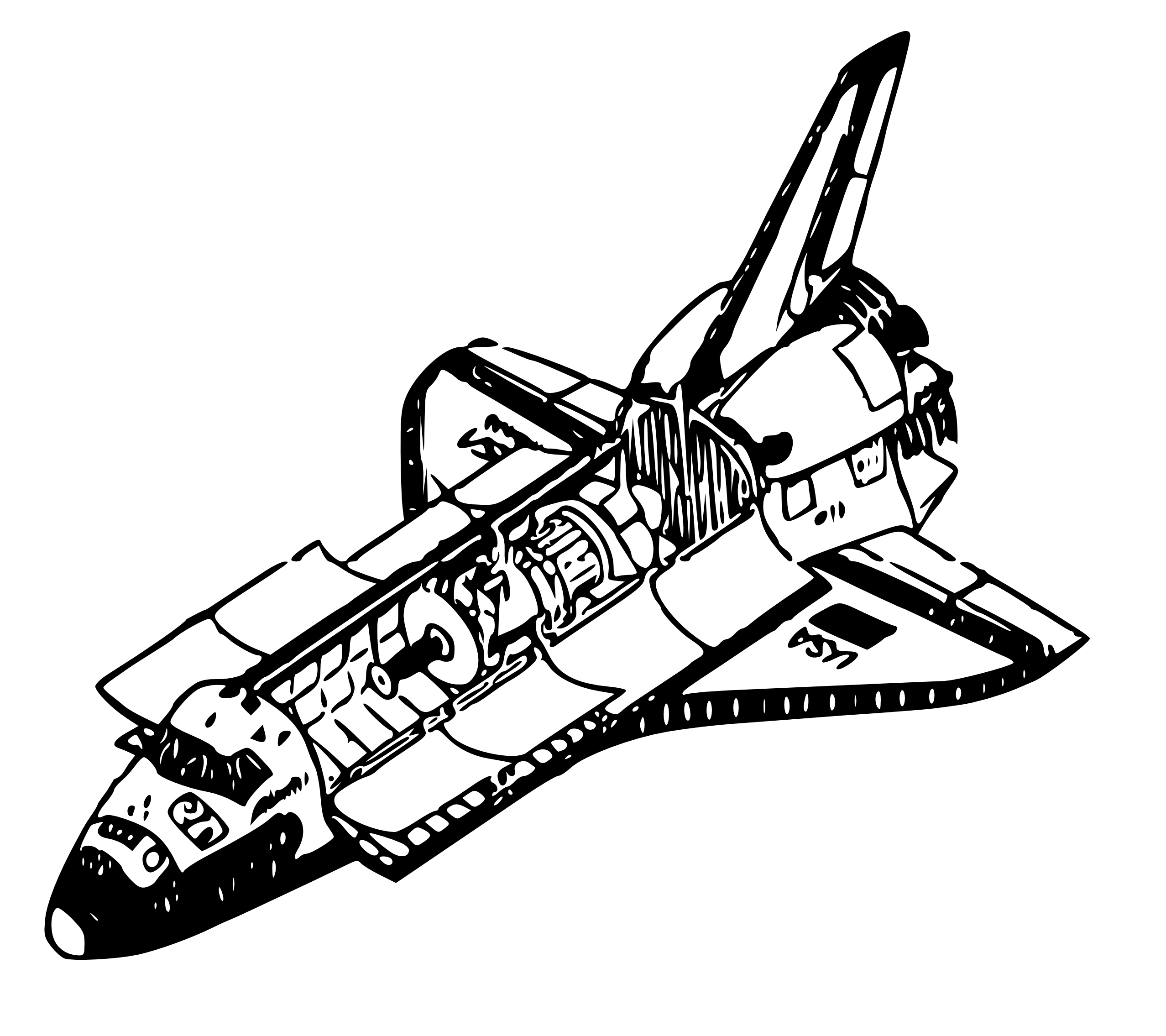 Line Art Space : Space shuttle coloring pages clipart panda free