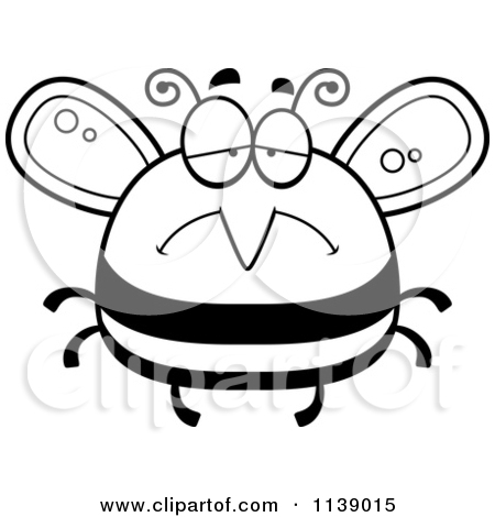 Free Bee Clipart Black And White Black And White Pudgy Sad Bee