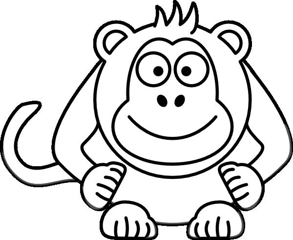 Baby Monkey Clip Art Black And White Clipart Panda