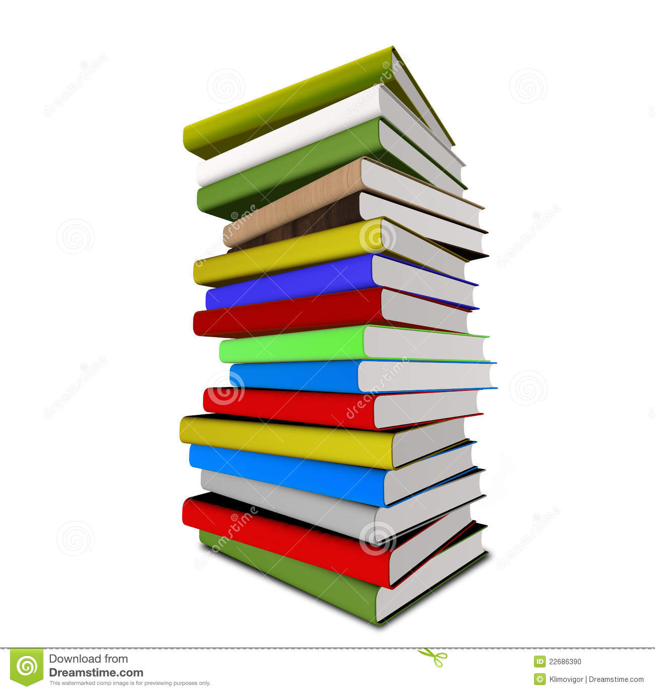 Books colorful. Stack of stock clipart