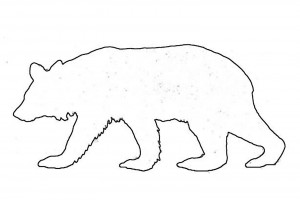 Standing black bear outline