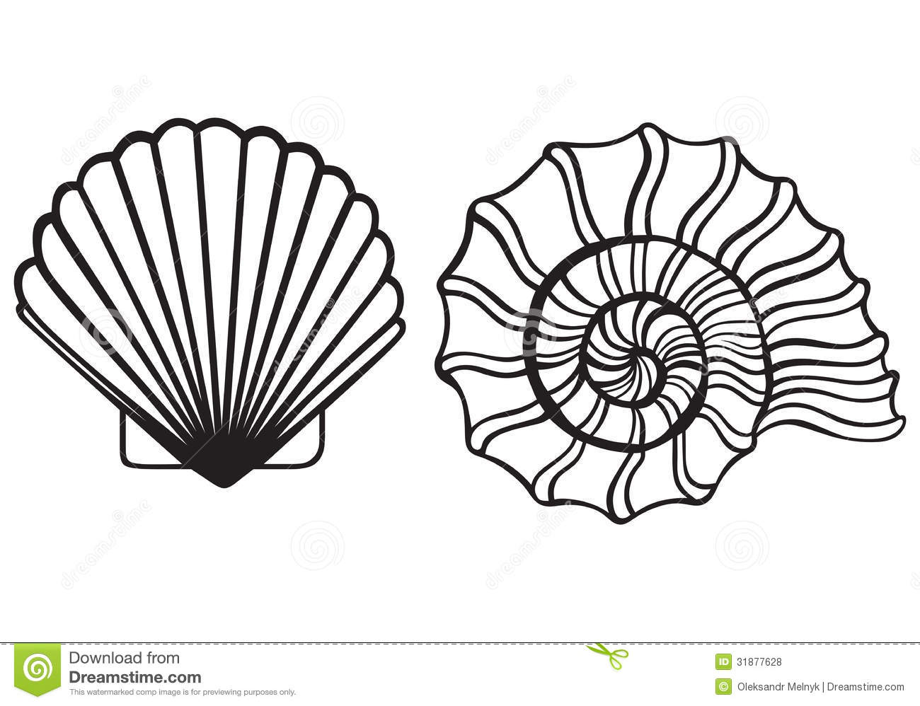 Seashell Clipart Black And White | Clipart Panda - Free ...