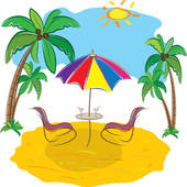 Beach chair Clip Art EPS