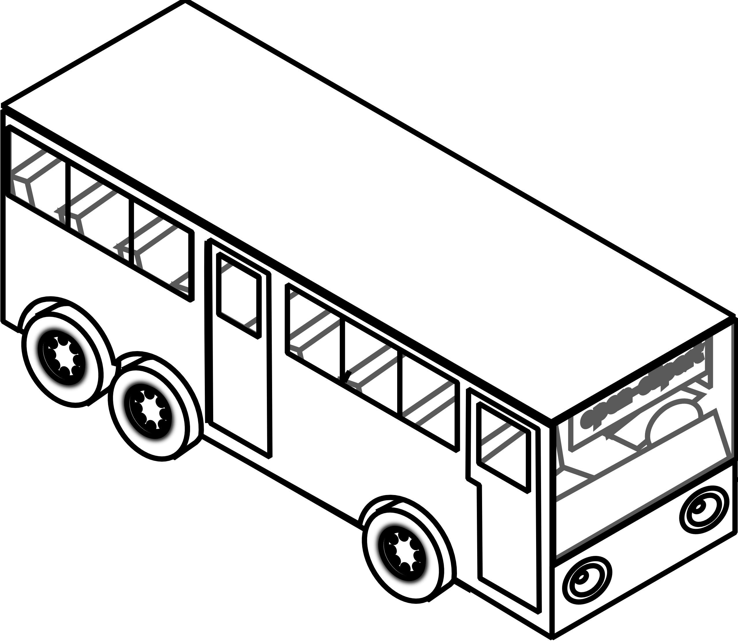 bus clipart black and white