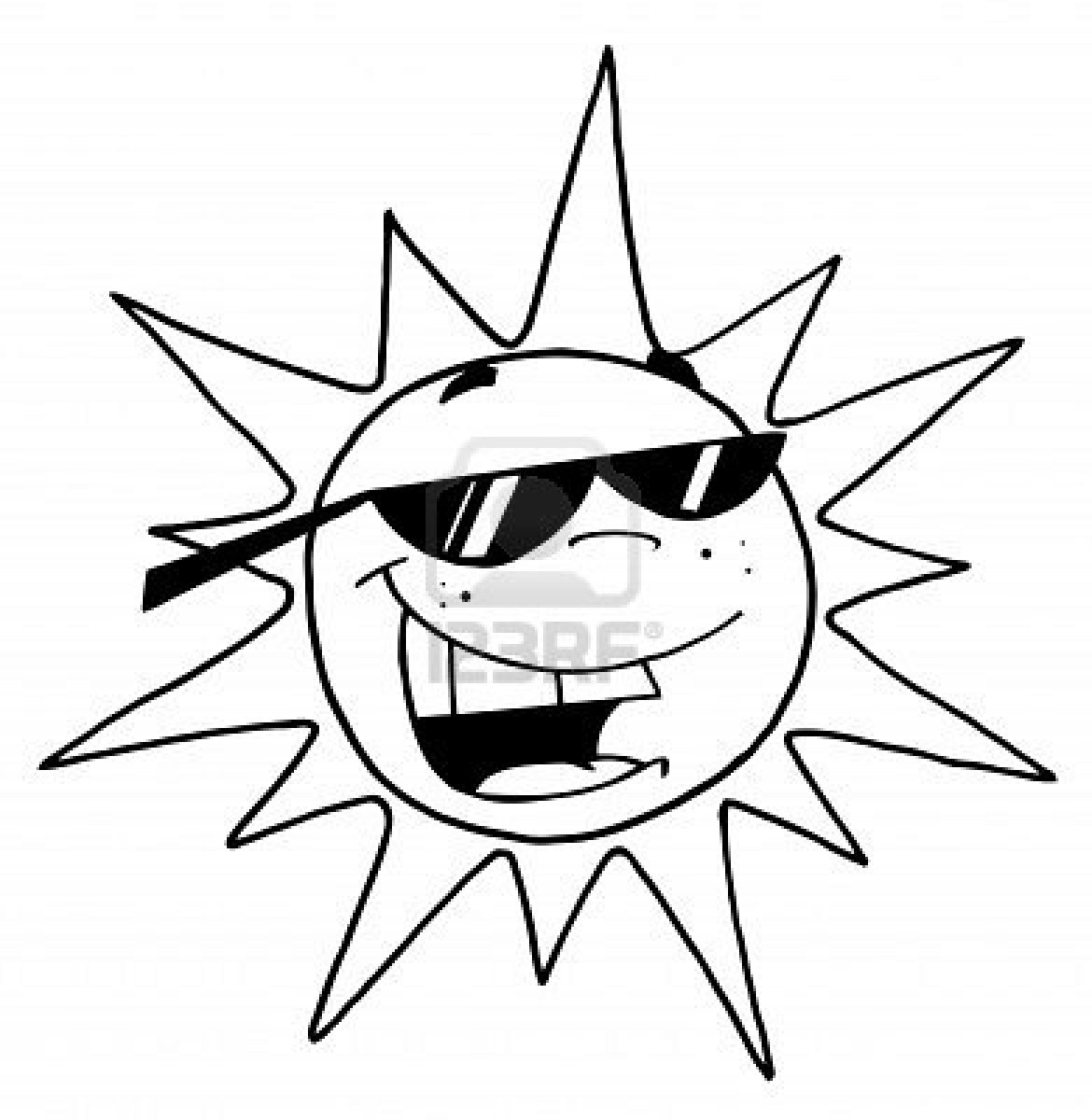 Smiling Sun Clip Art Black And White | Clipart Panda - Free ...