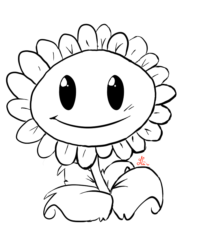 Cartoon Flower Line Drawing : Sunflower drawing clipart panda free images