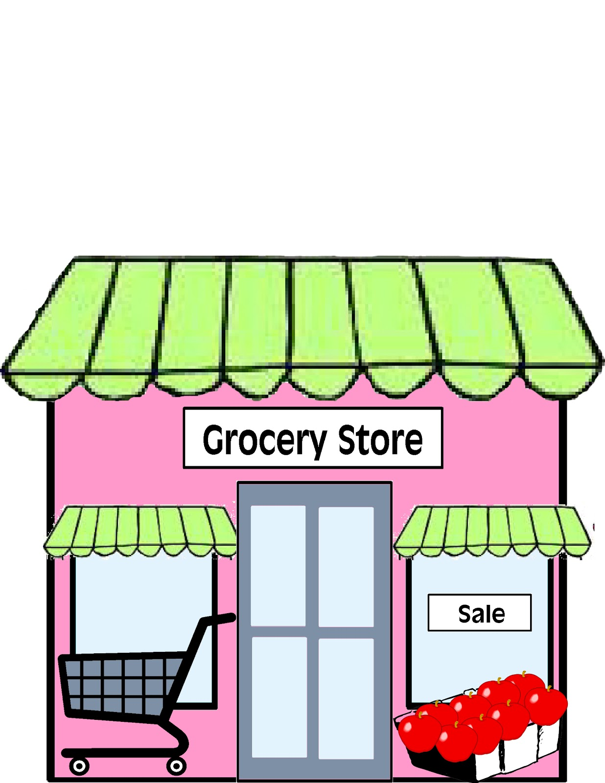 Grocery Store Building Cartoon