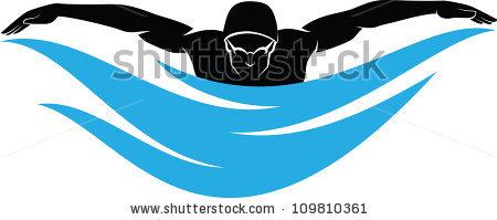 Butterfly stroke silhouette