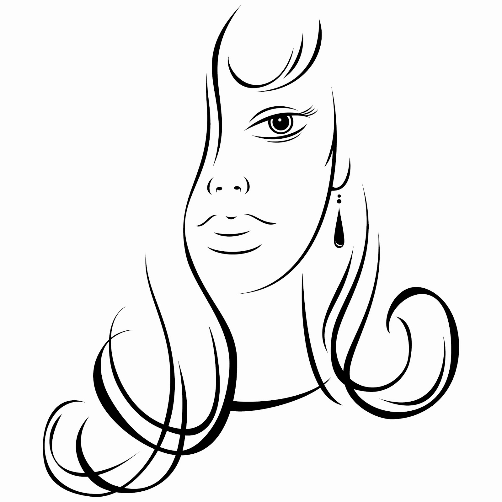 Free Line Drawing Woman Face : Taint clipart panda free images