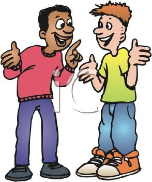 friends talking at school clipart