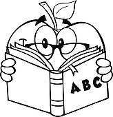 teacher apple clipart black and white clipart panda School Clip Art Black and White Book Clip Art Black and White