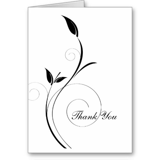 thank you card black and white