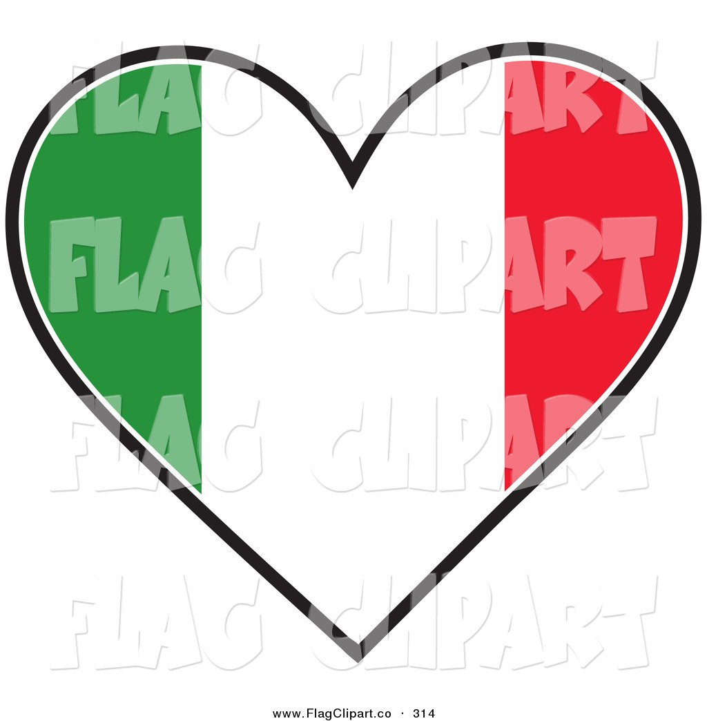 Green white and red tricolor italian flag on a solid white background