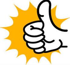 Cartoon image of thumbs up, signifying success