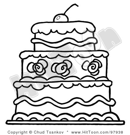 tier clipart 97938 royalty free rf clipart illustration of a triple tiered outlind wedding cake with frosting and a cherry - Free Wedding Websites