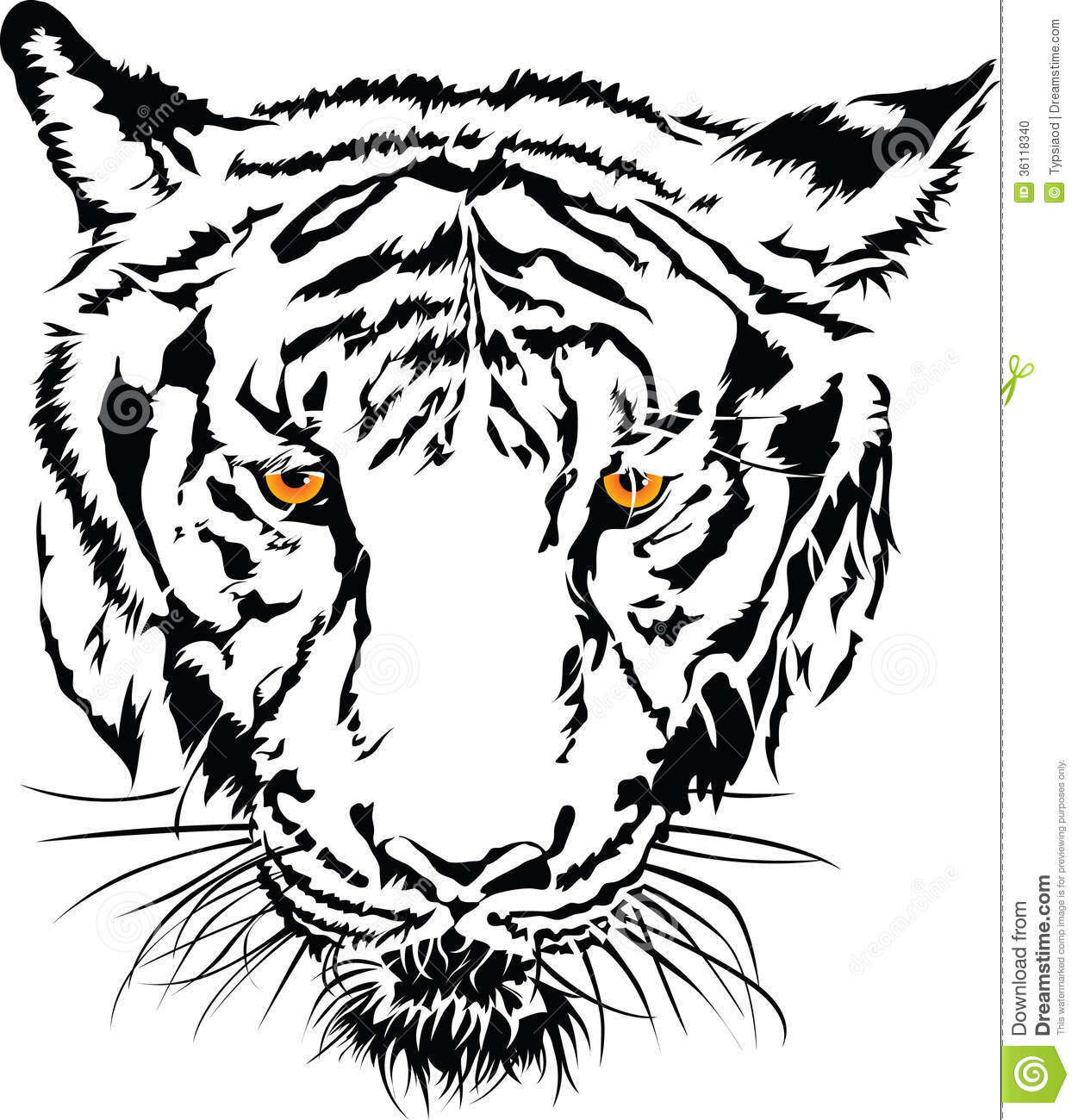 Tiger Clipart Black And White Face