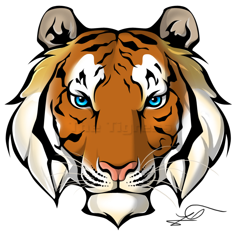 color ink tiger head tattoo designjpg Simple Tiger Face Cartoon
