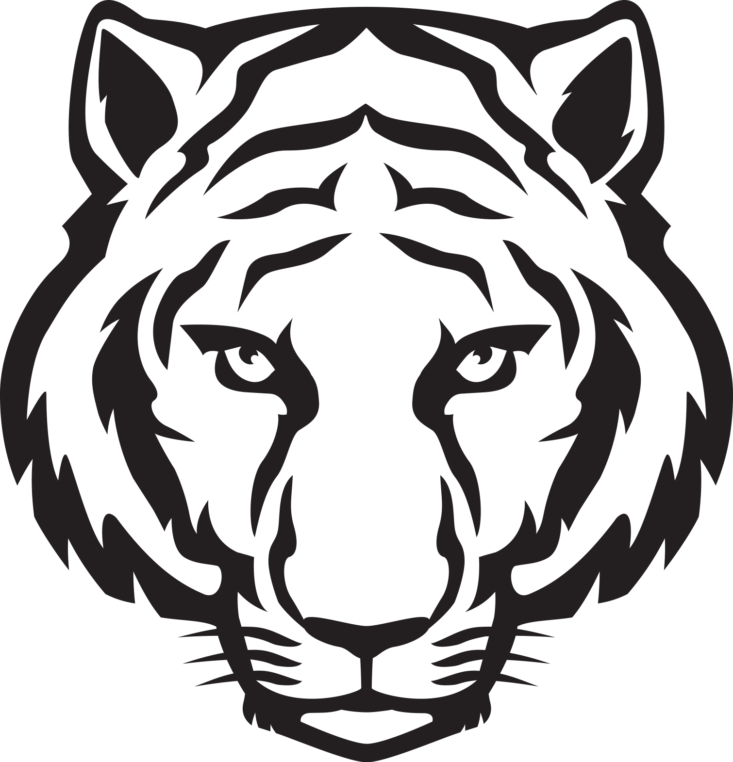 Tiger Face Clipart tiger%20face%20clip%20art%20black%20and%20white