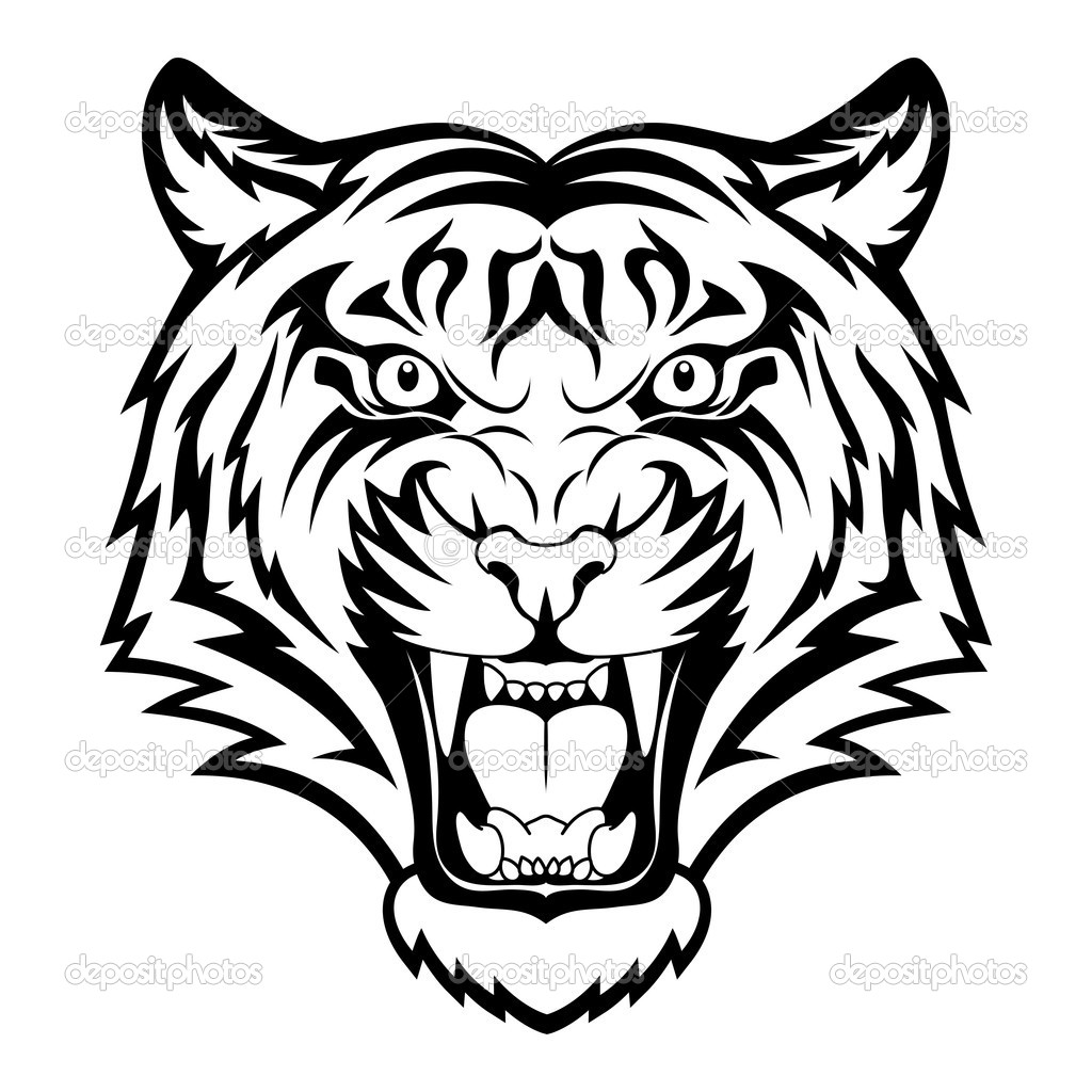 Tiger Head Clip Art Black And White | Clipart Panda - Free ...