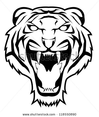 Tiger Face Clip Art Black And White | Clipart Panda - Free ...