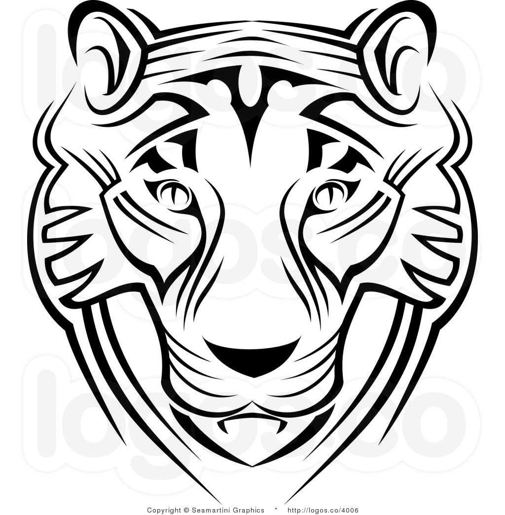 Line Drawing Of Tiger Face : Tiger face clipart black and white panda free