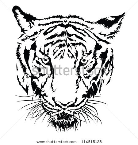 Tiger Face Clipart Black And White | Clipart Panda - Free ...