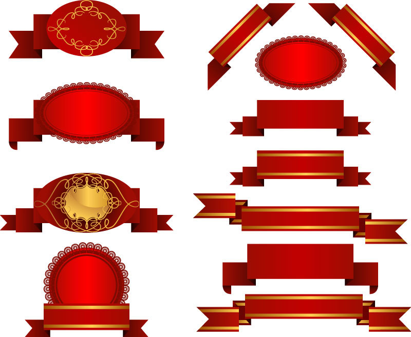 red title ribbons vector clipart panda free clipart images