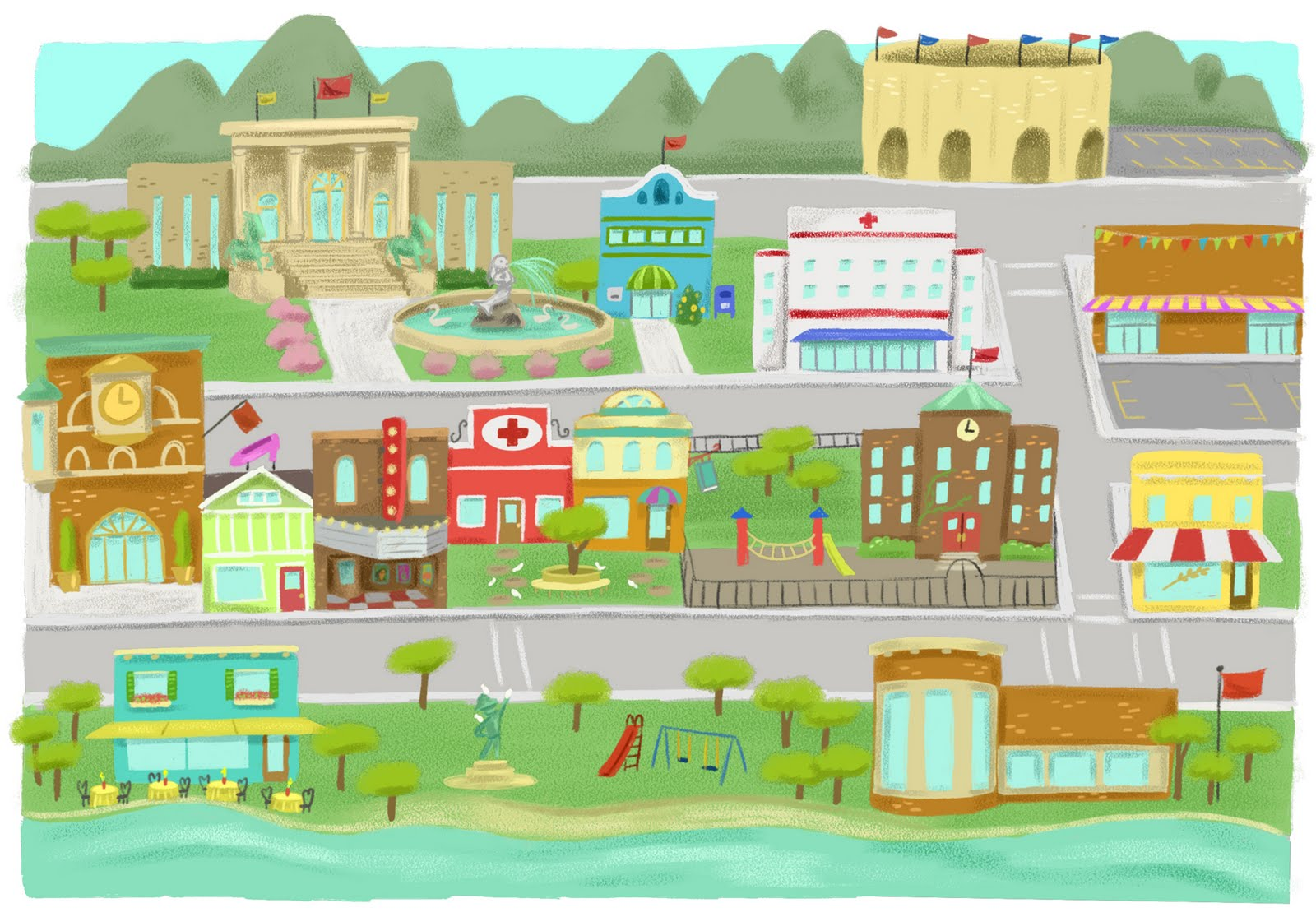 town clip clipart map illustration