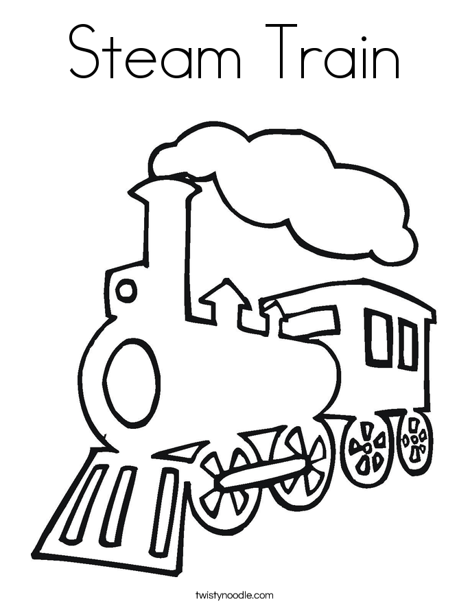 Front of train coloring pages for Printable steam train coloring pages