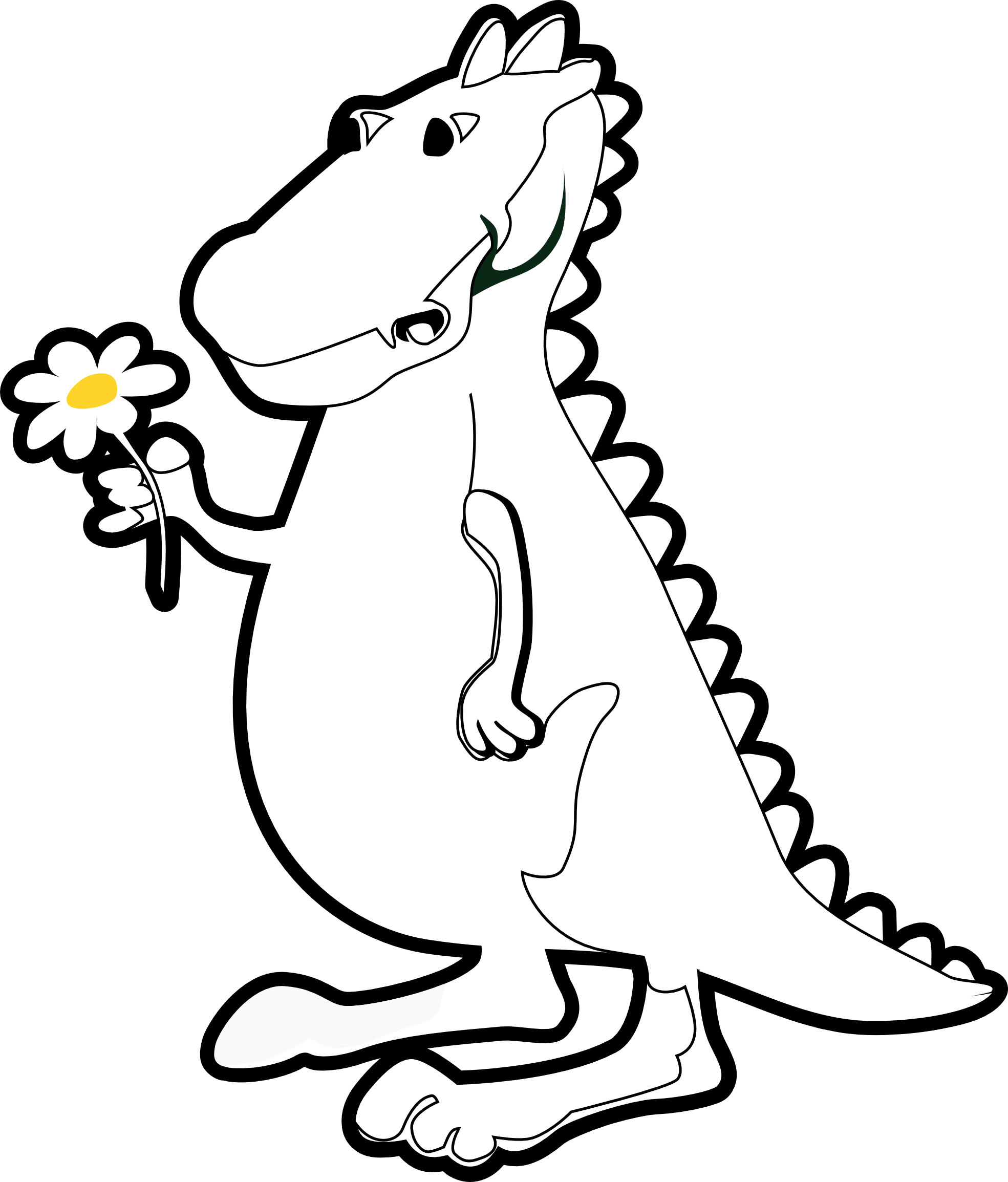 trex-clipart-black-and-white-dragon_with_flower_black_white_line_art ...