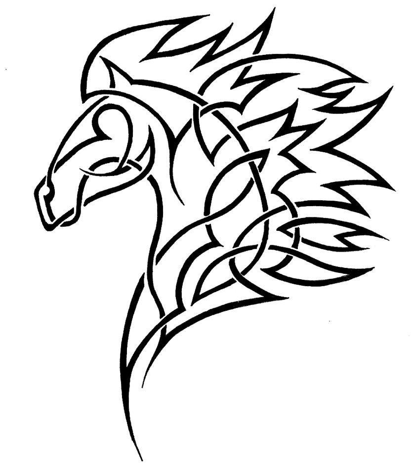 Line Drawing Horse Tattoo : Tribal horse head clip art clipart panda free