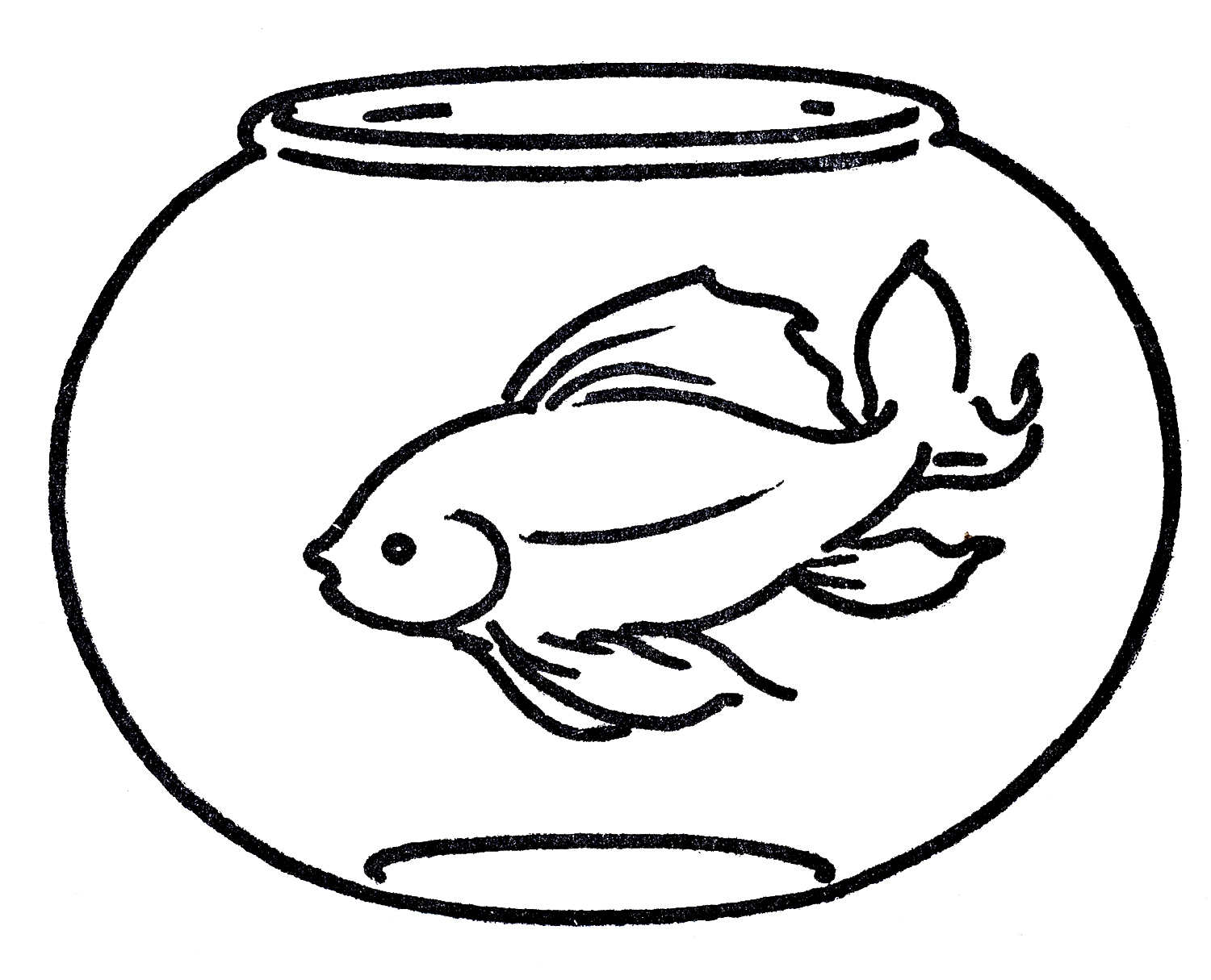 fish bowl clip art black and