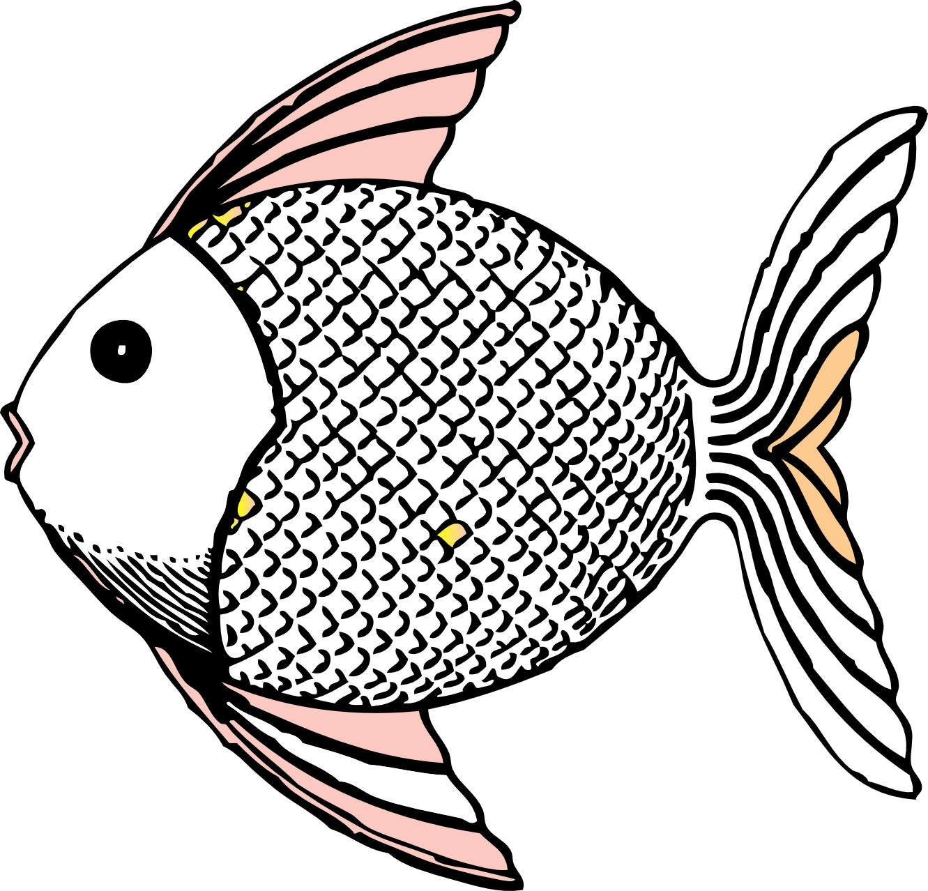 Line Drawing Of Fish : Tropical fish black and white clipart panda
