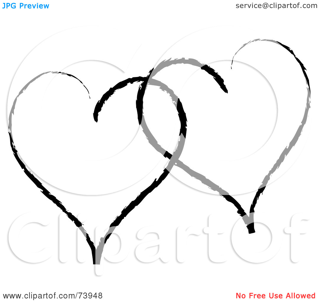 Two Hearts Clipart Black And White | Clipart Panda - Free ...