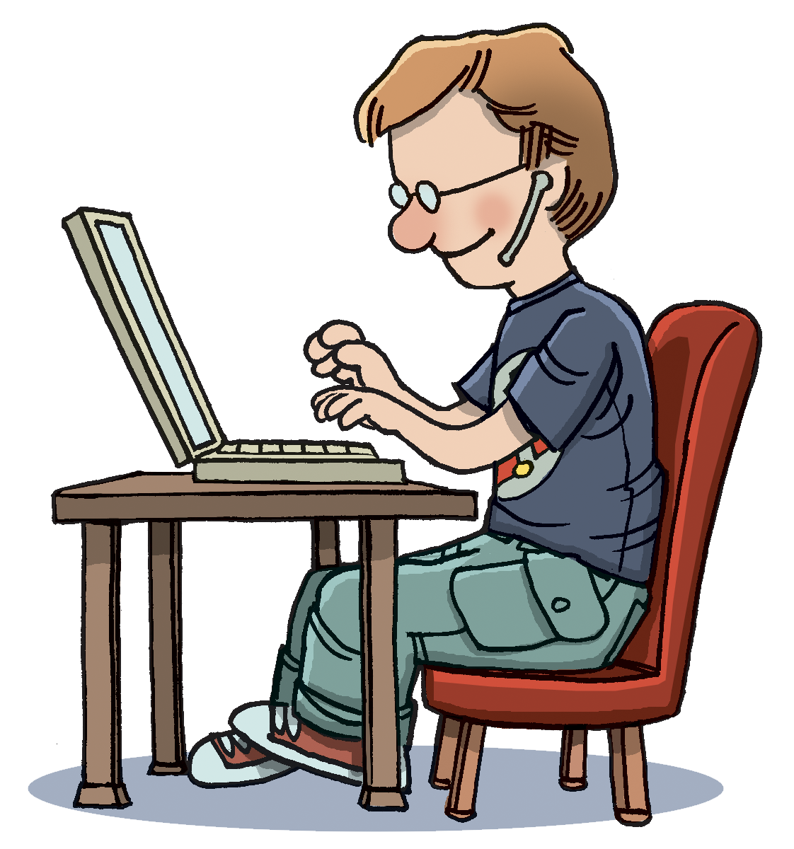 Typing 20clipart on Computer Writing Desk