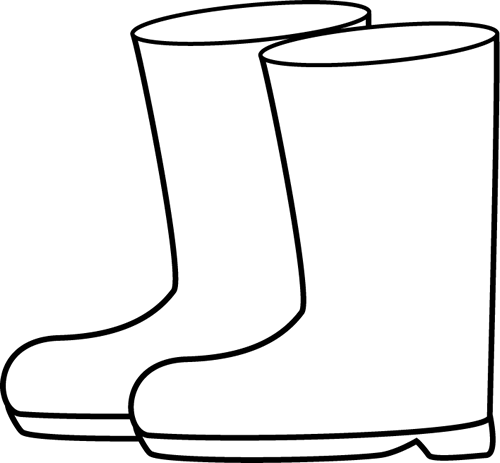 Rain Boots Clipart Black And White
