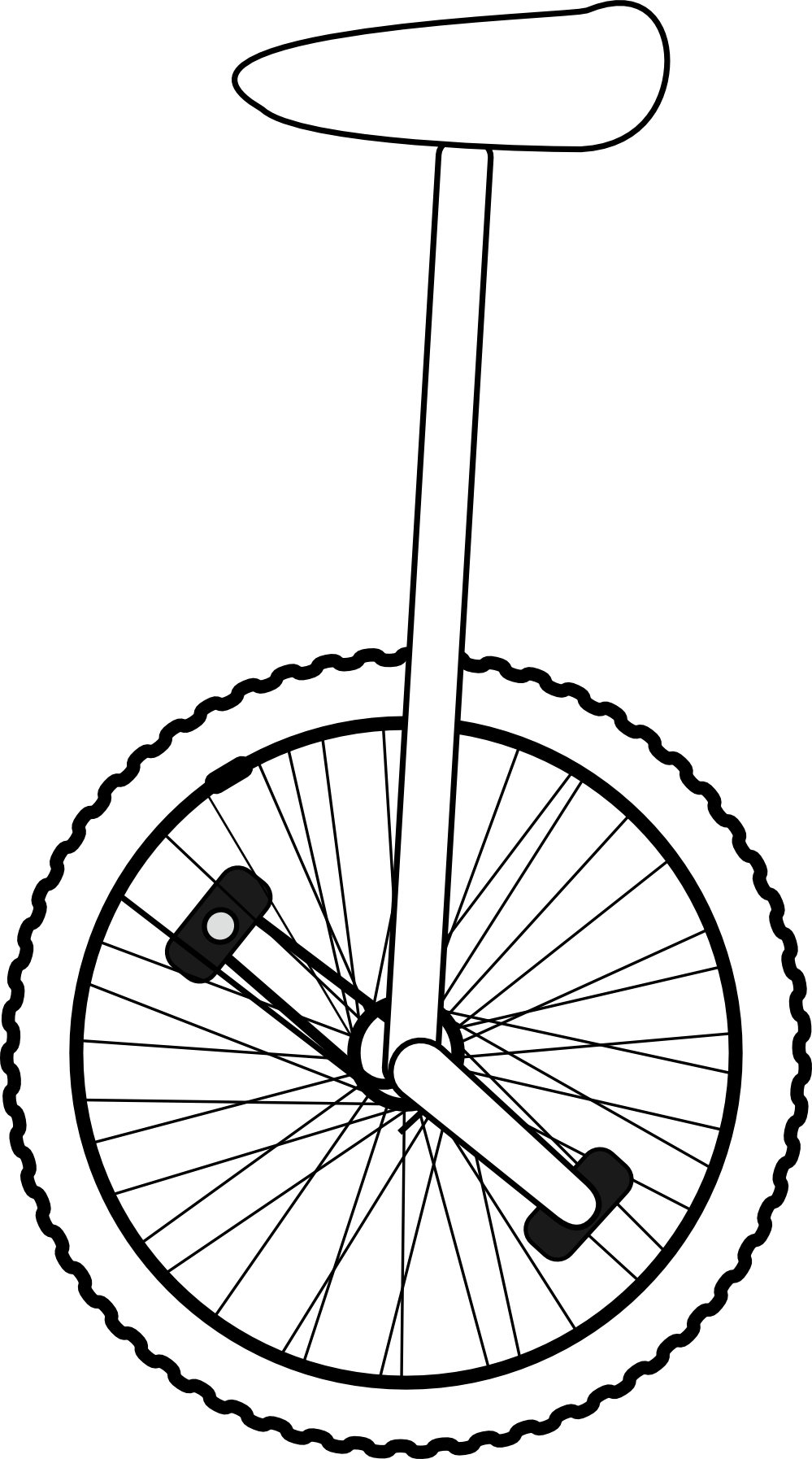 Line Art Clipart : Unicycle clipart black and white panda free