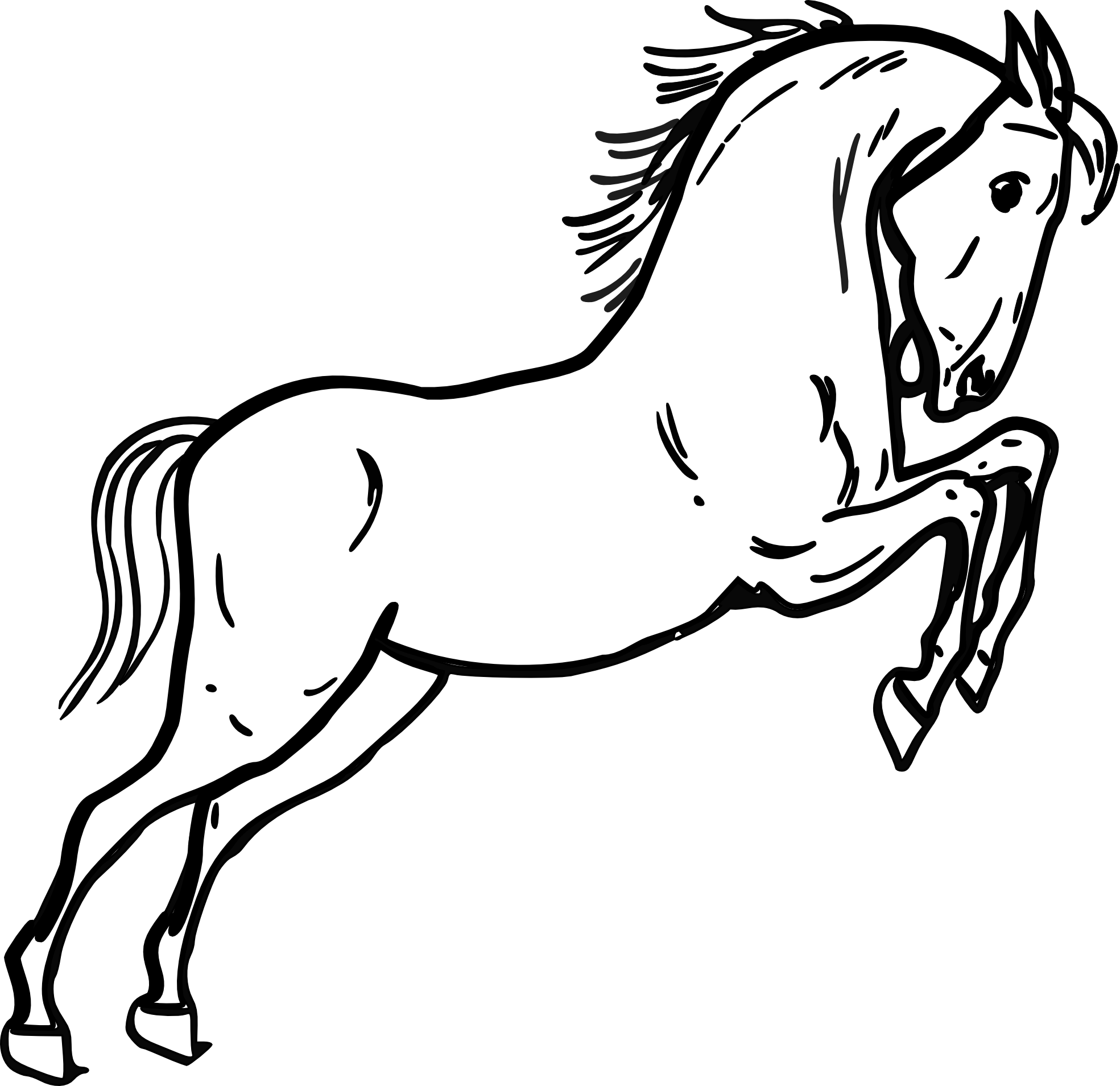 Horse Line Drawing Tattoo : Running horse clipart black and white panda