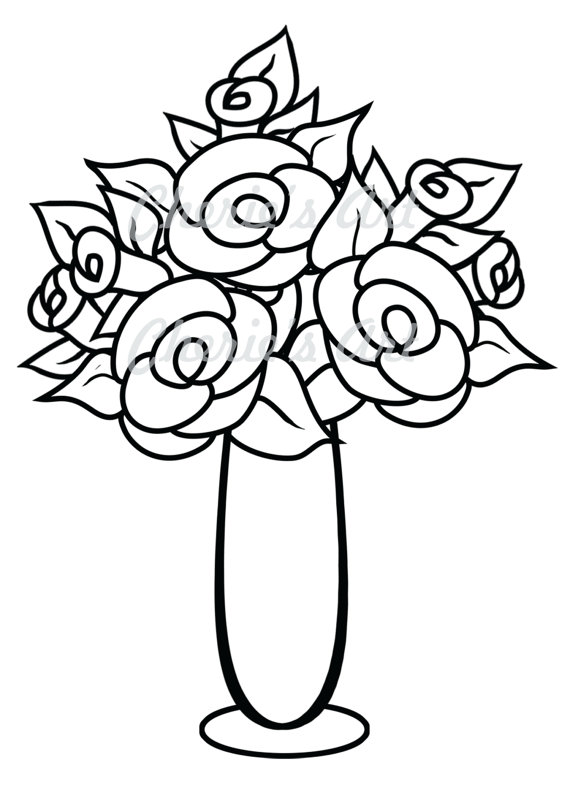 Line Drawing Flower Vase : Flowers in a vase clipart panda free