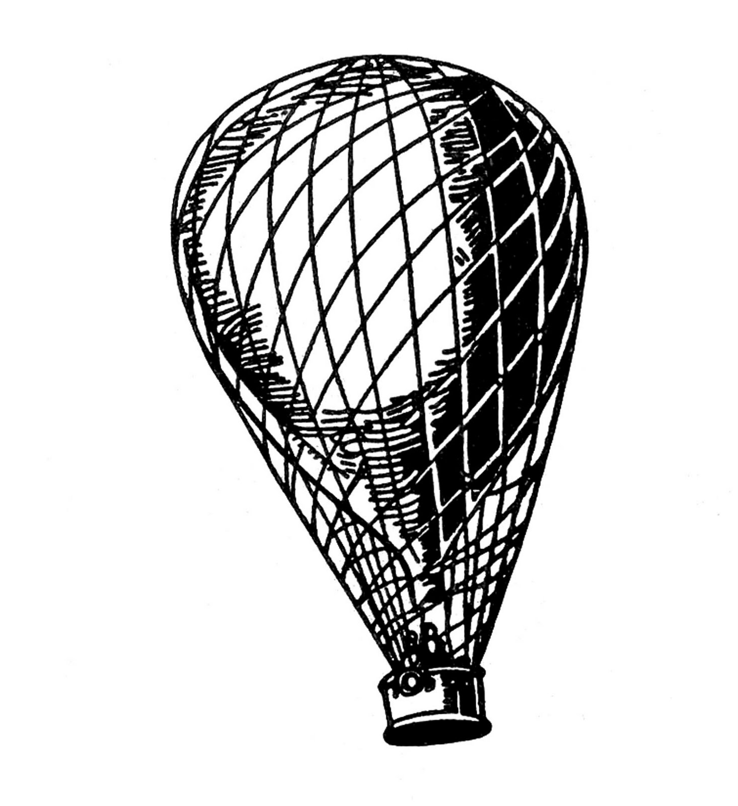 Vintage Hot Air Balloon Coloring Page | Clipart Panda - Free Clipart ...