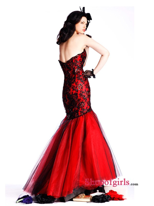 Black and Red Tulle Prom Dress