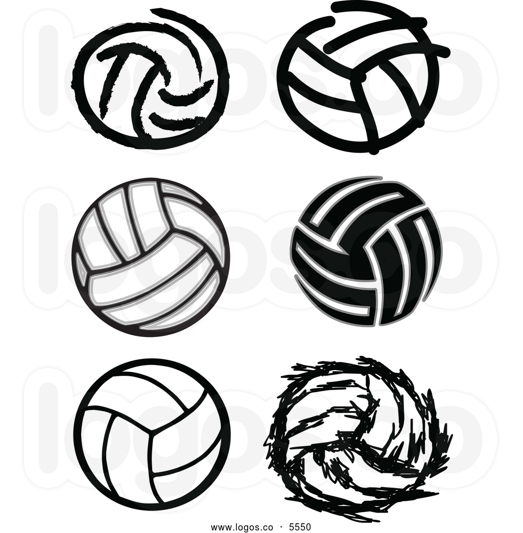 Volleyball black and white clipart