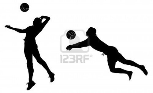 Abstract Design Of A Beach Volleyball Player Vector Image: Volleyball Player Clipart Black And White