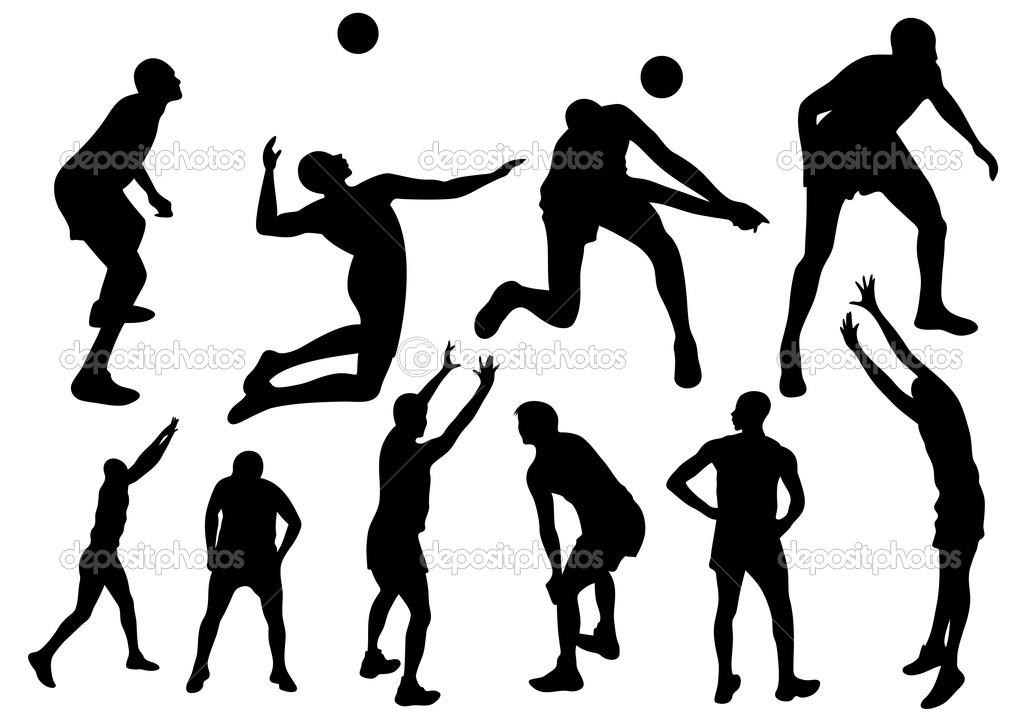 Abstract Design Of A Beach Volleyball Player Vector Image: Volleyball Player Hitting Silhouette