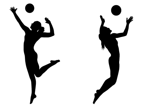 Volleyball Player Hitting Silhouette