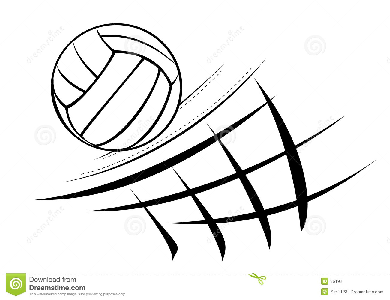 Illustration Abstract Volleyball Player Silhouette: Girl Volleyball Spike Clipart