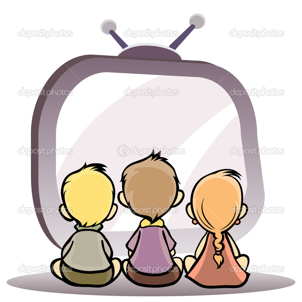 Kids Watching Movie While Eating Popcorn Stock Vector ... |Kids Watching Movie Clipart