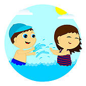 Water splash kids. Children in the clipart
