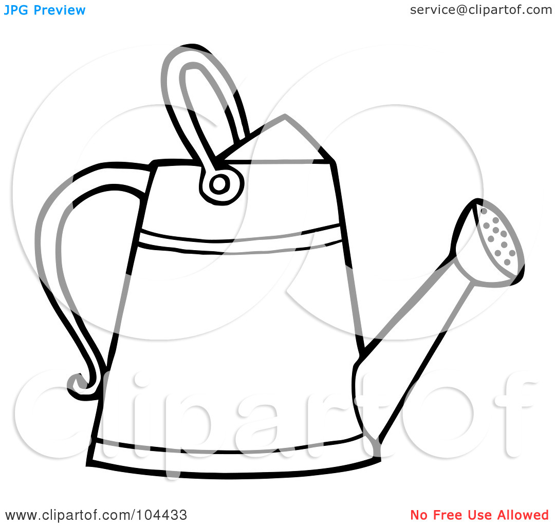 Watering can clipart black and white clipart panda for Gardening tools preschool